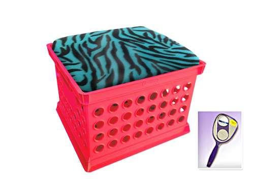 New Pink Milk Crate Storage Container Ottman Bench Stool With Aqua Zebra  Includes Free Nightlight!