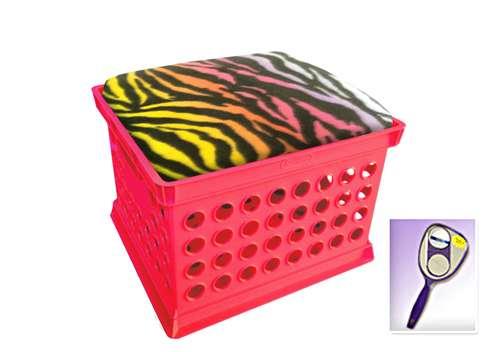 New Pink Milk Crate Storage Container Ottman Bench Stool With Rainbow Zebra  Includes Free Nightlight!
