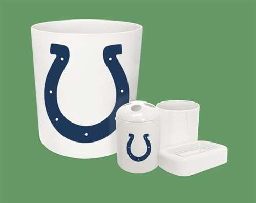 New 4 Piece Bathroom Accessories Set In White Featuring Indianapolis Colts Nfl Team Logo