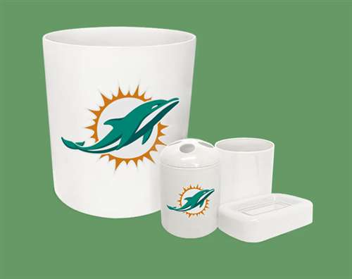 New 4 Piece Bathroom Accessories Set In White Featuring Miami Dolphins Nfl Team Logo
