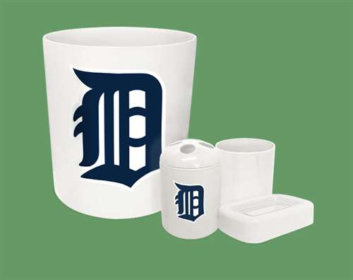 New 4 Piece Bathroom Accessories Set In White Featuring Detroit Tigers Mlb Team Logo