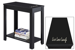 "NEW! Inspirational Quote ""Live, Love, Laugh"" Vinyl Decal on a Black Hardwood Accent Side End Table"