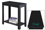 "NEW! Inspirational Quote ""Grateful"" Vinyl Decal on a Black Hardwood Accent Side End Table"