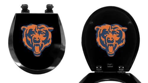 Fine Black Toilet Seat Round Molded Wood With Chicago Bears Nfl Team Logo Theme Ocoug Best Dining Table And Chair Ideas Images Ocougorg
