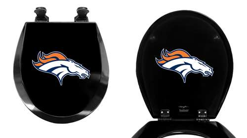 Peachy Black Toilet Seat Round Molded Wood With Denver Broncos Nfl Team Logo Theme Andrewgaddart Wooden Chair Designs For Living Room Andrewgaddartcom