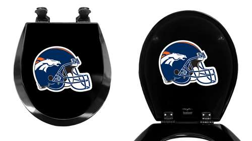 Incredible Black Toilet Seat Round Molded Wood With Denver Broncos Helmet Nfl Team Logo Theme Andrewgaddart Wooden Chair Designs For Living Room Andrewgaddartcom