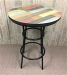 Rustic Man Cave Multi-Colored Pine Wood and Black Metal Finish Bar Table with a Glass Table Top