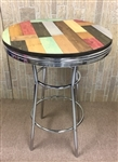 Rustic Man Cave Pine Wood and Chrome Bar Table