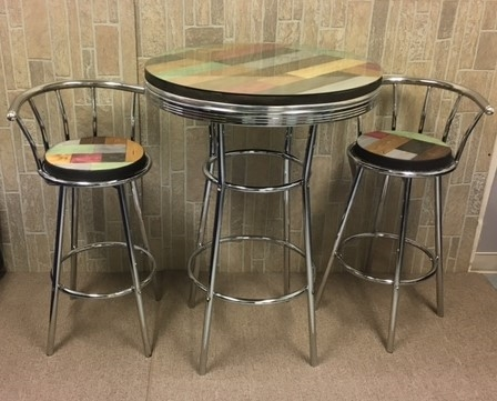 Rustic Man Cave Custom Multi Colored Pine Wood And Chrome Bar Table Set With A Gl