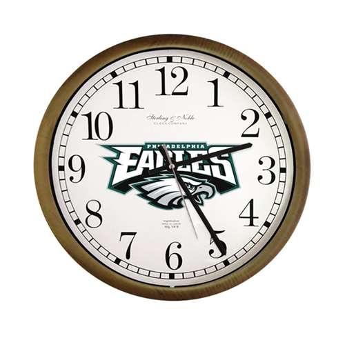 Espresso Cappuccino Finish Wall Clock Round Frame With Philadelphia Eagles Nfl Team Logo Theme