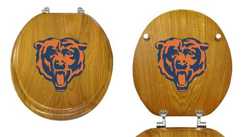 Super New Oak Finish Wooden Round Toilet Seat Featuring Chicago Bears Nfl Team Logo Ocoug Best Dining Table And Chair Ideas Images Ocougorg