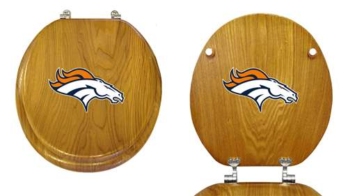 Prime New Oak Finish Wooden Round Toilet Seat Featuring Denver Broncos Nfl Team Logo Andrewgaddart Wooden Chair Designs For Living Room Andrewgaddartcom