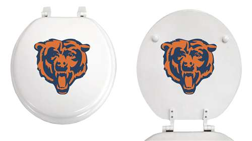 Awe Inspiring New Molded Wood White Finish Round Toilet Seat Featuring Chicago Bears Nfl Team Logo Ocoug Best Dining Table And Chair Ideas Images Ocougorg