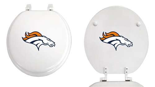 Wondrous New Molded Wood White Finish Round Toilet Seat Featuring Denver Broncos Nfl Team Logo Andrewgaddart Wooden Chair Designs For Living Room Andrewgaddartcom