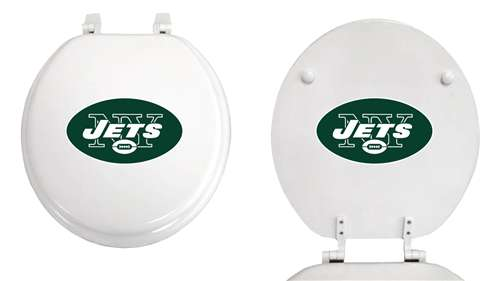 Outstanding New Molded Wood White Finish Round Toilet Seat Featuring New York Jets Nfl Team Logo Dailytribune Chair Design For Home Dailytribuneorg