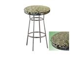 BROWN ZEBRA FAUX ANIMAL FUR GLASS TOP CHROME METAL FINISH BISTRO PUB BAR TABLE