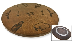 "Western Themed Authentic Iron-Branded 18"" Walnut Solid Wood Lazy Susan Turntable - Great for the Kitchen, RV or Man Cave!"