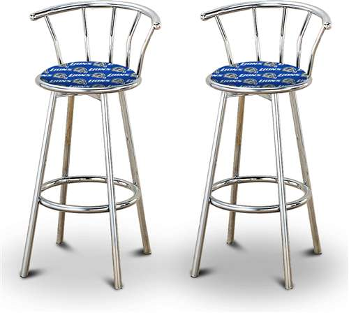 Cool 2 24 Tall Detroit Lions Nfl Football Themed Specialty Custom Chrome Barstools With Backrest Set Beutiful Home Inspiration Xortanetmahrainfo