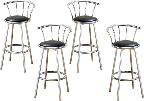 The Furniture Cove 4 24 Chrome Finish Metal Bar Stools With A