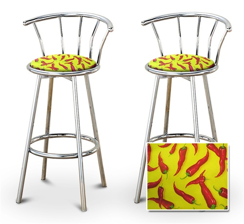Peachy 2 Chili Peppers Specialty Custom Chrome Barstools With Backrest Set Download Free Architecture Designs Scobabritishbridgeorg