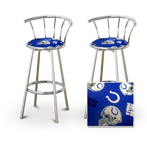 The Furniture Cove   2 Indianapolis Colts NFL Football Themed Specialty /  Custom Chrome Barstools With Backrest Set