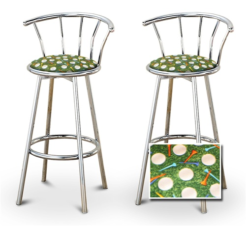The Furniture Cove 2 Golf Themed Fabric Specialty Custom Chrome Barstools With Backrest Set