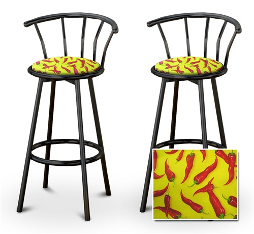 Wondrous 2 Chili Peppers Specialty Custom Black Barstools With Backrest Set Download Free Architecture Designs Scobabritishbridgeorg