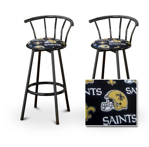 The Furniture Cove   2 New Orleans Saints NFL Football Themed Specialty /  Custom Black Barstools With Backrest Set