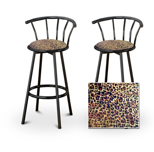 Awesome 2 Cheetah Animal Print Specialty Custom Black Barstools With Backrest Set Gamerscity Chair Design For Home Gamerscityorg