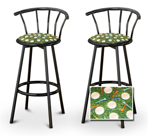The Furniture Cove 2 Golf Themed Fabric Specialty Custom Black Barstools With Backrest Set