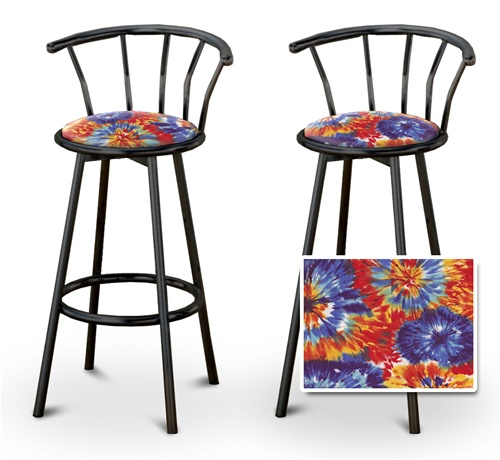 Excellent 2 Tie Dye Fabric Specialty Custom Black Barstools With Backrest Set Gamerscity Chair Design For Home Gamerscityorg