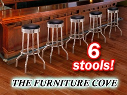 6 Chrome Black Commercial Strong Swivel Restaurant Barstools man cave mancave