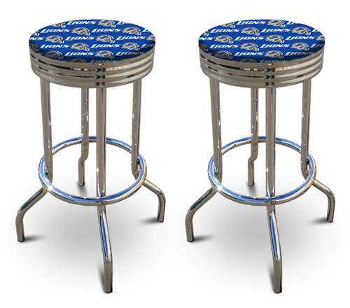 Peachy 2 24 Tall Detroit Lions Nfl Football Themed Specialty Custom Barstools Set Beutiful Home Inspiration Xortanetmahrainfo