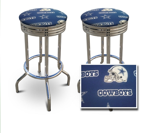 The furniture cove 2 dallas cowboys nfl football themed specialty barstools chrome bar stools stool swivels foot rest ring cushion seat cave man chair chairs diner watchthetrailerfo
