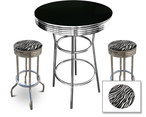 Phenomenal Man Cave Retro Black Bistro Table Pub Set With 2 Custom Made Zebra Print Barstools 3 Piece Set Dining Forskolin Free Trial Chair Design Images Forskolin Free Trialorg