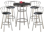 Metal Bar Table & Pub Set With 4 Swivel Seat Bar Stools with Back Rests bistro table set kitchen table sets apartment table dorm table set man cave mancave