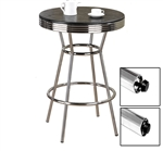 New Black Finish Table Top Chrome Bar Table with Foot Levelers!