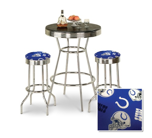 The Furniture Cove   3 Piece Chrome Bar Table Set With 2 Chrome Finish  Indianapolis Colts NFL Fabric Seat Barstools