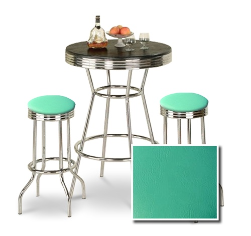 The Furniture Cove   3 Piece Chrome Bar Table Set With 2 Chrome Finish  Turquoise Vinyl Seat Barstools