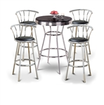 Bar Table Pub Set Barstool Barstools Stool Stools Black Vinyl Retro Chrome Hardwood Top Traditional Soda Fountain Style man cave mancave Dining