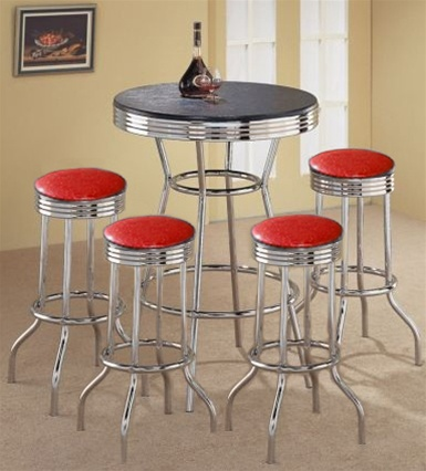 Retro Black Bistro Table Pub Set With 4 Custom Made Red Glitter Vinyl Barstools 5 Piece Dining