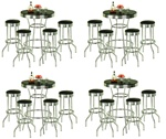 Bar Table Pub Set Barstool Barstools Stool Stools Black Vinyl Retro Chrome Top Traditional Soda Fountain Style man cave mancave