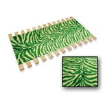 GREEN-WHITE Burlap Strap Full Size Bed Slats Support / Bunkie Board Made in the USA.  Green and White Zebra Faux Fur fabric be slats.