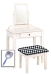 New White Finish Make Up Vanity Table with Mirror & Black and White Polka Dot Themed Bench
