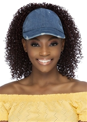 Synthetic Hairpiece Denim Cap