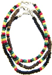 RASTA COLOR COCO BEAD ANKLET IN 3 PATTERN VARIATION