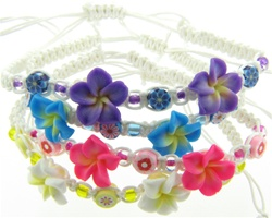 PLUMERIA FIMO FLOWER, SMALL FIMO FLOWER BEADS, ON BRAIDED WAXED CORD, SLIP KNOT BRACELET