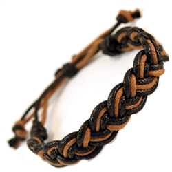 MENS BROWN AND BLACK BRAIDED BRACELET