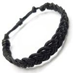MENS  BLACK  SLICK  COTTON CORD BRACELET