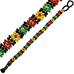 CZECH-JAPANESE GLASS SEED BEAD 32 ROW RASTA COLOR BRACELET